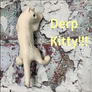 Derp white kitty cat wall or table art ceramic